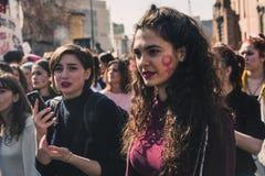 Studenten die de Internationale Dag van Wome vieren ` s Stock Fotografie