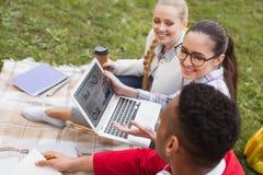 Studenten, die Diagramm unter Verwendung ihres Laptops studieren Stockfotos