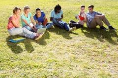 Studenten, die draußen auf dem Campus studieren Stockbilder