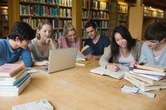 Studenten die in een bibliotheek leren Stock Afbeeldingen