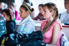 Studenten die in een klaslokaal tijdens klasse zitten stock foto