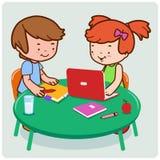 Studenten, die Forschung und Studie durchführen stock abbildung
