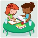 Studenten, die Hausarbeit tun stock abbildung