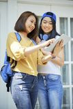 Studenten, die Hausarbeitprojekt besprechen stockfotos