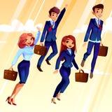 Studenten die omhoog vectorillustratie vliegen royalty-vrije illustratie
