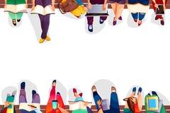 Studenten die op vectorschoolbank zitten stock illustratie