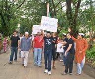 Studenten die tegen corruptie in India protesteren royalty-vrije stock afbeeldingen