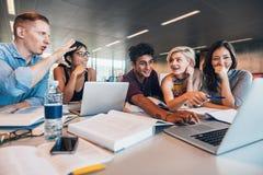 Studenten, die zusammen an akademischem Projekt arbeiten stockfotografie