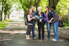 Studenten-Discussing Notes With-Mitschüler auf dem Campus Lizenzfreie Stockfotografie