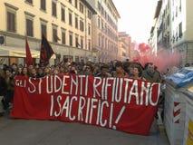 Studenten in een manifestatie in Florence, Italië