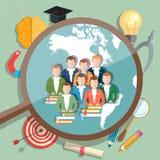 Studenten en internationale onderwijs van het Onderwijs het online concept Stock Foto's