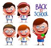 Studenten en leraars vectorkarakter - reeks jongens en meisjes in uniformen royalty-vrije illustratie