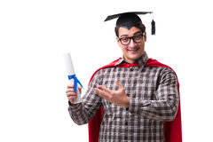 Studenten för toppen hjälte med böcker som isoleras på vit Arkivfoton