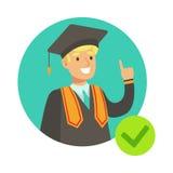 Studenten In Graduation Mantle, försäkringsbolag servar den Infographic illustrationen stock illustrationer