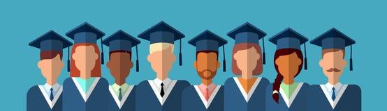 Studenten-Group Graduation Gown-Kappe Stockbilder