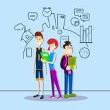 Studenten-Group Hold Folders-Bildung über Skizzen-Hand gezeichnetem Hintergrund Lizenzfreies Stockfoto