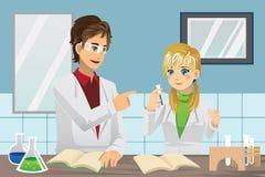Studenten in laboratorium stock illustratie