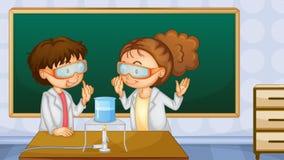 Studenten in laboratorium vector illustratie