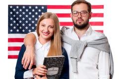 Studenten lernt Englisch als Fremdsprache Amerikanische Flagge lizenzfreies stockfoto