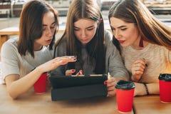 Studenten lesen und besprechen ihre Aufgabe am Tabletten-PC lizenzfreie stockfotos