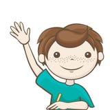 Studenten lyftte hans hand Arkivbild