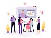 Studenten oder Angestellte nehmen einen on-line-Kurs und passen ein Video mit infographics auf und besprechen ihn vektor abbildung