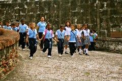 Studenten op excursie, Cartagena, Colombia Stock Afbeeldingen