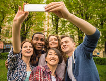 Studenten in openlucht Stock Fotografie