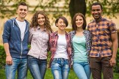Studenten in openlucht Stock Foto
