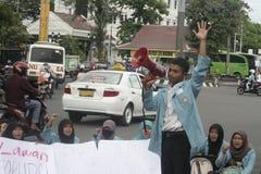 Studenten-Protest gegen Korruption in der Solo- Stadt, Indonesien stockfotografie