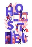 Studenten of Reizigers het Concept van het KaraktersHerbergen De Karaktersbeweging van toeristenmensen in Goedkoop Motel om bij N vector illustratie