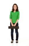 Studenten: Studenten-Musiker-Standing With Flute-Fall Lizenzfreies Stockbild