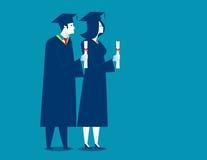 Studenten succesvolle graduatie De illustratie van het conceptenonderwijs Stock Foto