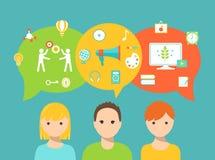 Studenten und Rede sprudelt und die Schulikonen, die Lernmethoden und Bildungs-Bedarf und Präferenzen darstellen Lizenzfreies Stockfoto