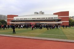 Studenten van Xiamen nummer één Lage school gehouden volwassen ceremonie, rgb adobe Royalty-vrije Stock Afbeeldingen