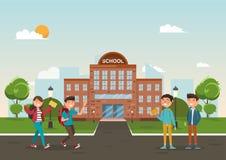 Studenten in verschillend karakter op school Het concept van het onderwijs Stock Fotografie