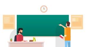 Studenten-Write Chalkboard University-Bildung Lizenzfreies Stockbild