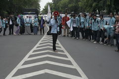 Studentenaktion im Solo, Jawa Tengah Stockbild
