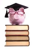Studentencollegeabsolvent Sparschwein lokalisiert auf weißem Hintergrund, Vorderansicht, vertikal Stockfoto