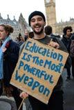 """Studentendemonstratie voor Vrij Onderwijs †""""geen besnoeiingen, geen prijzen, n Stock Foto"""