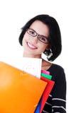 Studentenfrau, die ihr perfektes Prüfungsergebnis zeigt Lizenzfreies Stockfoto