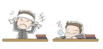 Studentenjungensatzmotivation und -Trägheit lizenzfreie abbildung