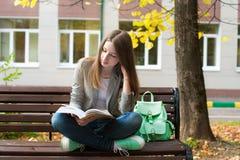 Studentenlesebuch im Herbst Stockbilder