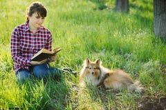 Studentenmädchen, das in der Natur mit Hund lernt Stockbild