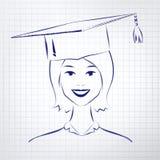 Studentenmeisje die graduatiehoed dragen stock illustratie