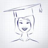 Studentenmeisje die graduatiehoed dragen vector illustratie