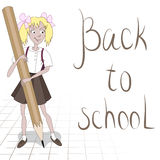 Studentenmeisje met groot potlood Stock Foto's