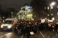 Studentenproteste gegen Strenge Stockbild