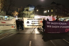 Studentenproteste gegen Strenge Stockfotografie