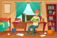 Studentenschlafzimmer Jugendlicher las Bockbier, Collegehausarbeit und Studentenwohnzimmerwohnungskarikaturillustration lizenzfreie abbildung